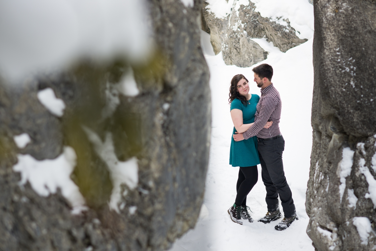 Meghan Elizabeth Photography Engagement adventure session in banff