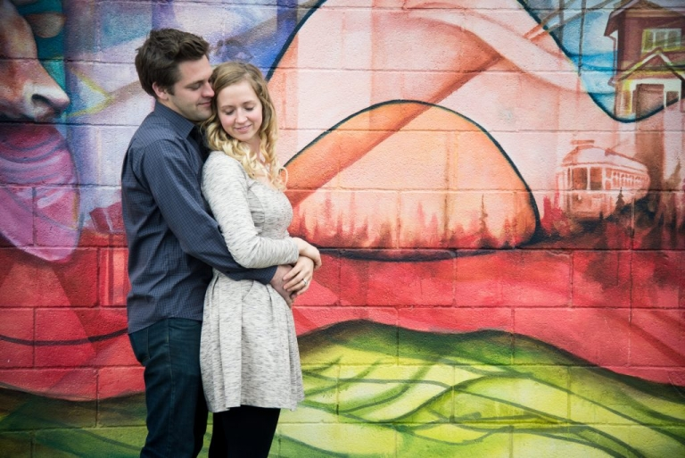 Meghan Elizabeth Photography Engagement photos with graffiti walls