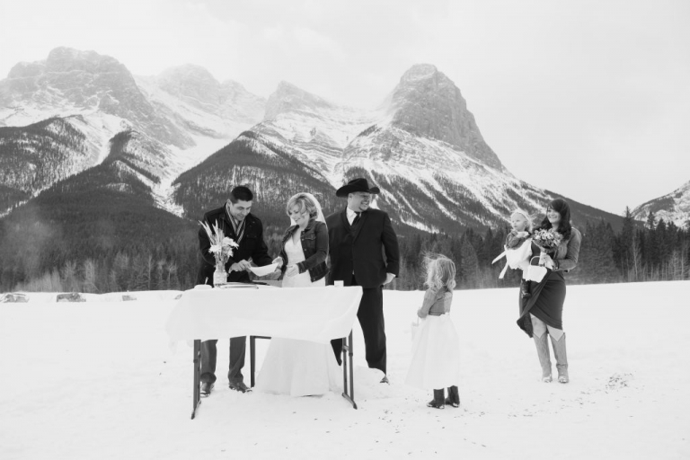 Canmore winter wedding Rocky Mountains