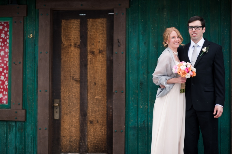 Wedding Portfolio for Meghan Elizabeth Photography Wooden door winter wedding