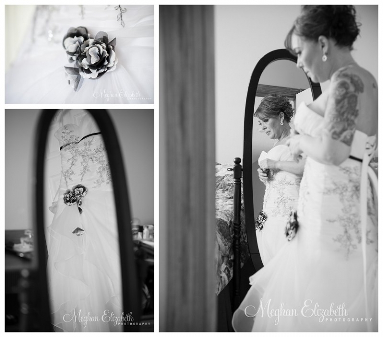 Putting on Wedding Dress Photos