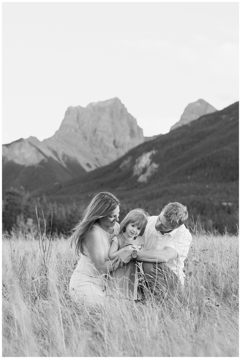 Laughing family together in canmore