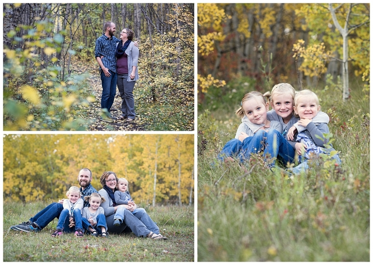 Fall Photos of family with three girls sisters