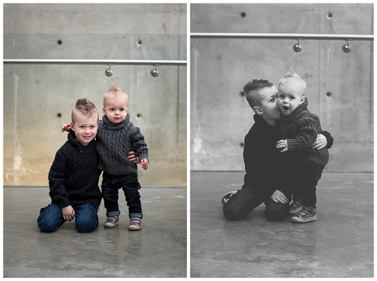 SAIT parkade indoor winter family photos brothers