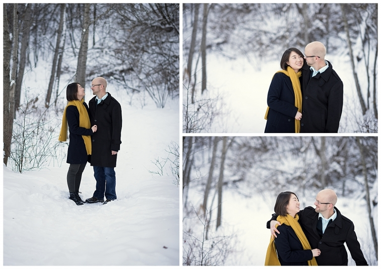 winter engagement session at Edworthy Park Calgary by Meghan Elizabeth Photography