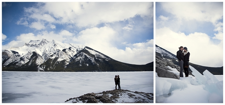 Mountain engagement at Lake Minnewanka