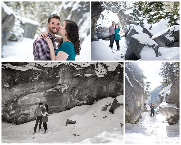 winter engagement photos in a canyon rocky mountains