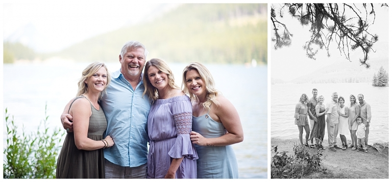 family photo of dad with his daughters at two jack lake